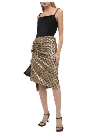 Женская юбка PACO RABANNE золотого цвета, арт. 21PJJU007VI0285 | Фото 2