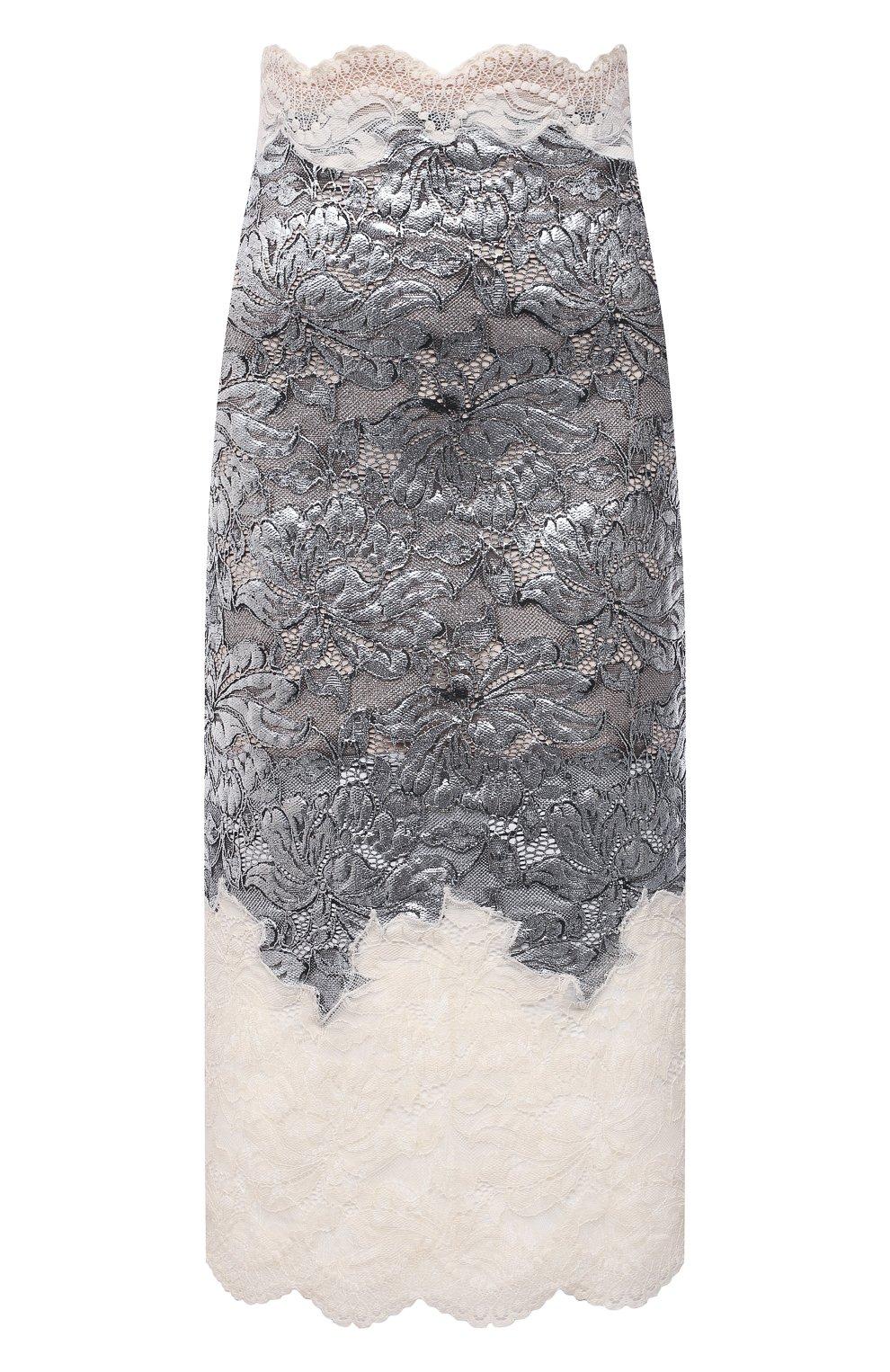 Женская юбка PACO RABANNE серебряного цвета, арт. 21EJJU201PA0173 | Фото 1