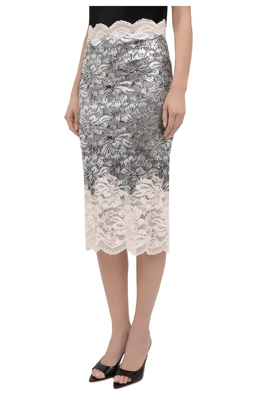 Женская юбка PACO RABANNE серебряного цвета, арт. 21EJJU201PA0173 | Фото 3