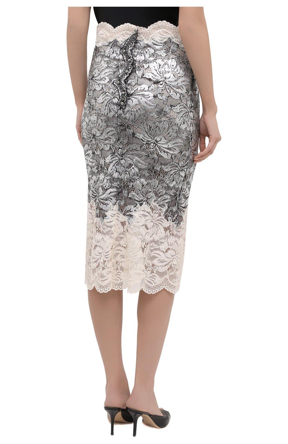 Женская юбка PACO RABANNE серебряного цвета, арт. 21EJJU201PA0173 | Фото 4