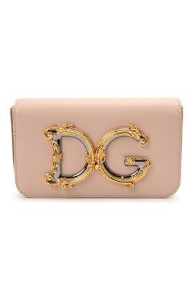 Женская сумка dg girls mini DOLCE & GABBANA светло-розового цвета, арт. BB6885/AW576   Фото 1 (Размер: mini; Сумки-технические: Сумки через плечо; Ремень/цепочка: С цепочкой, На ремешке; Материал: Натуральная кожа)