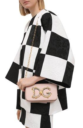 Женская сумка dg girls mini DOLCE & GABBANA светло-розового цвета, арт. BB6885/AW576   Фото 2 (Размер: mini; Сумки-технические: Сумки через плечо; Ремень/цепочка: С цепочкой, На ремешке; Материал: Натуральная кожа)