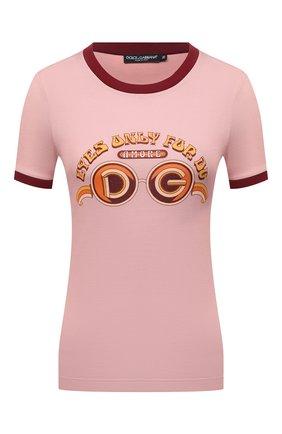 Женская хлопковая футболка DOLCE & GABBANA светло-розового цвета, арт. F8N36T/HI7HB | Фото 1