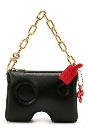 Женская сумка burrow OFF-WHITE черного цвета, арт. 0WNR002S21LEA001 | Фото 1 (Сумки-технические: Сумки top-handle; Размер: mini; Материал: Натуральная кожа; Ремень/цепочка: С цепочкой)