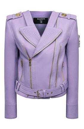 Женская кожаная куртка BALMAIN сиреневого цвета, арт. VF18253/L062 | Фото 1