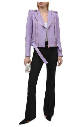Женская кожаная куртка BALMAIN сиреневого цвета, арт. VF18253/L062 | Фото 2