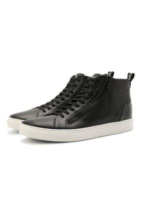 Мужские кожаные кеды HUGO черного цвета, арт. 50451713 | Фото 1