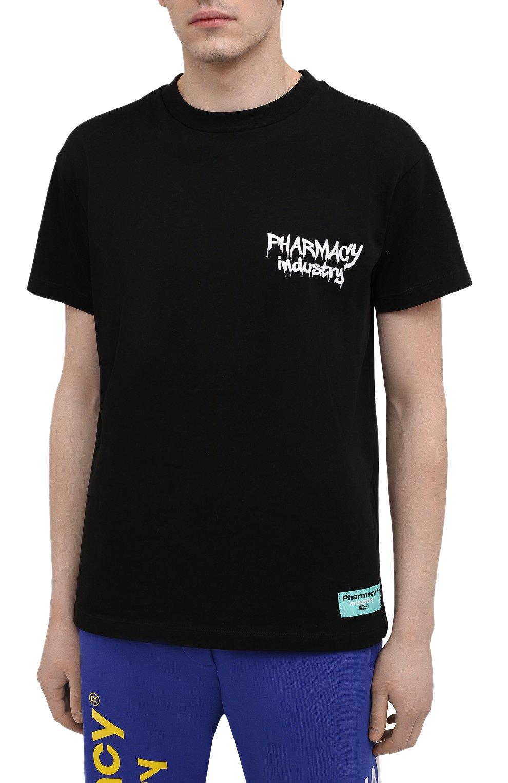 Мужская хлопковая футболка PHARMACY INDUSTRY черного цвета, арт. PHM242 | Фото 3