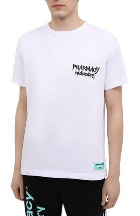 Мужская хлопковая футболка PHARMACY INDUSTRY белого цвета, арт. PHM242 | Фото 3