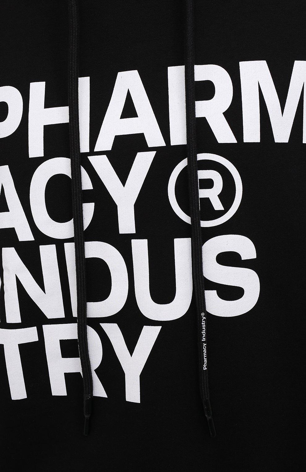 Мужской хлопковое худи PHARMACY INDUSTRY черно-белого цвета, арт. PHM226 | Фото 5
