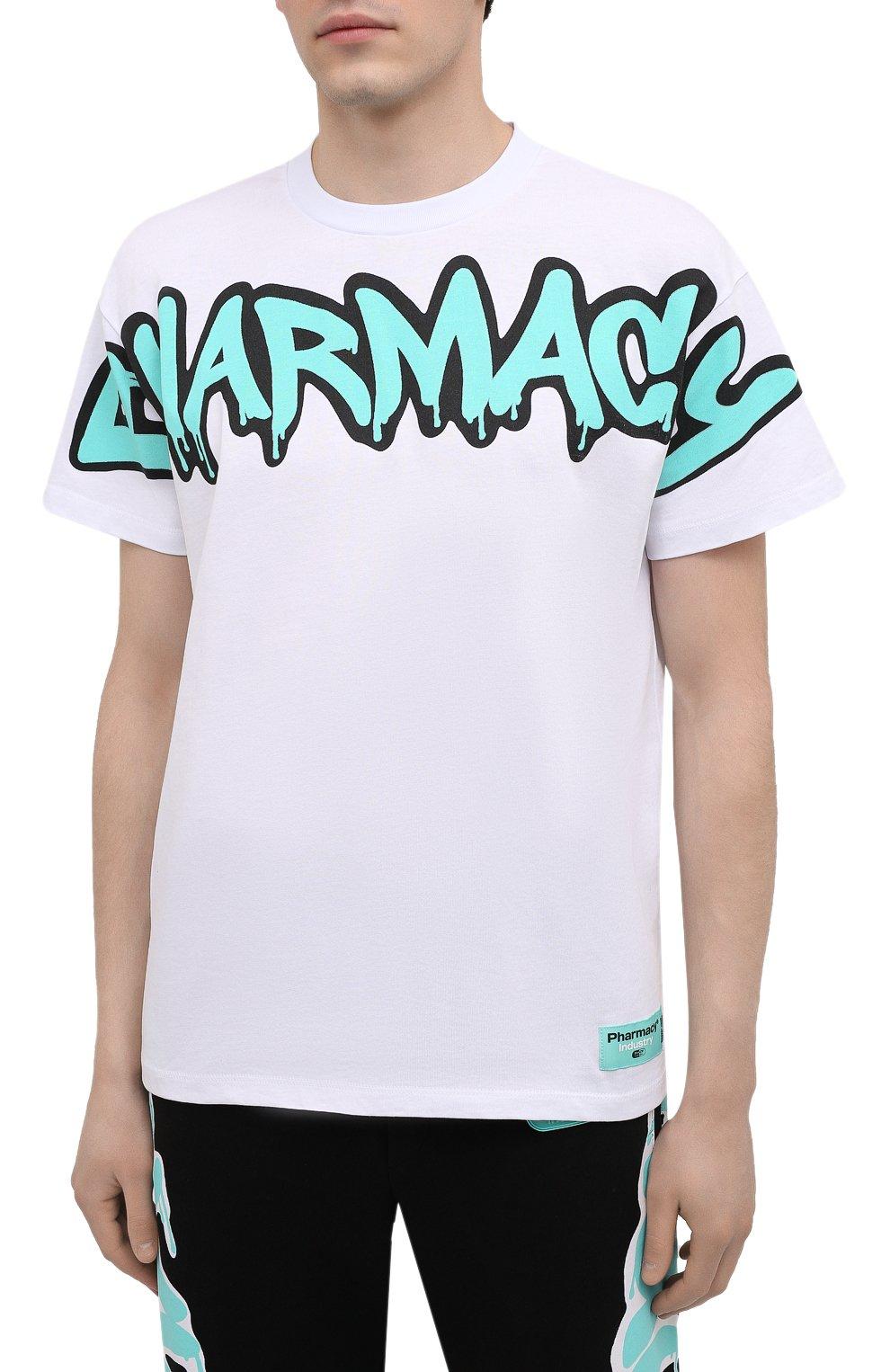 Мужская хлопковая футболка PHARMACY INDUSTRY белого цвета, арт. PHM224 | Фото 3