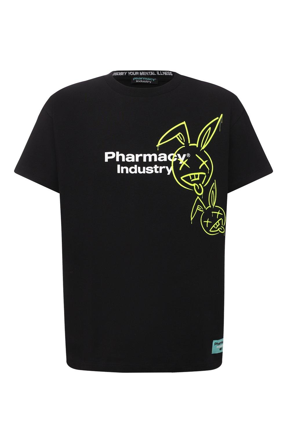 Мужская хлопковая футболка PHARMACY INDUSTRY черного цвета, арт. PHM222   Фото 1