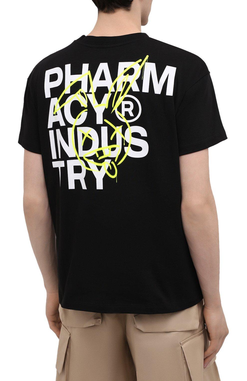 Мужская хлопковая футболка PHARMACY INDUSTRY черного цвета, арт. PHM222 | Фото 4