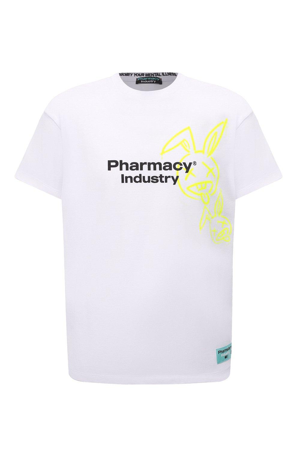Мужская хлопковая футболка PHARMACY INDUSTRY белого цвета, арт. PHM222   Фото 1