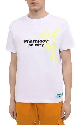 Мужская хлопковая футболка PHARMACY INDUSTRY белого цвета, арт. PHM222   Фото 3
