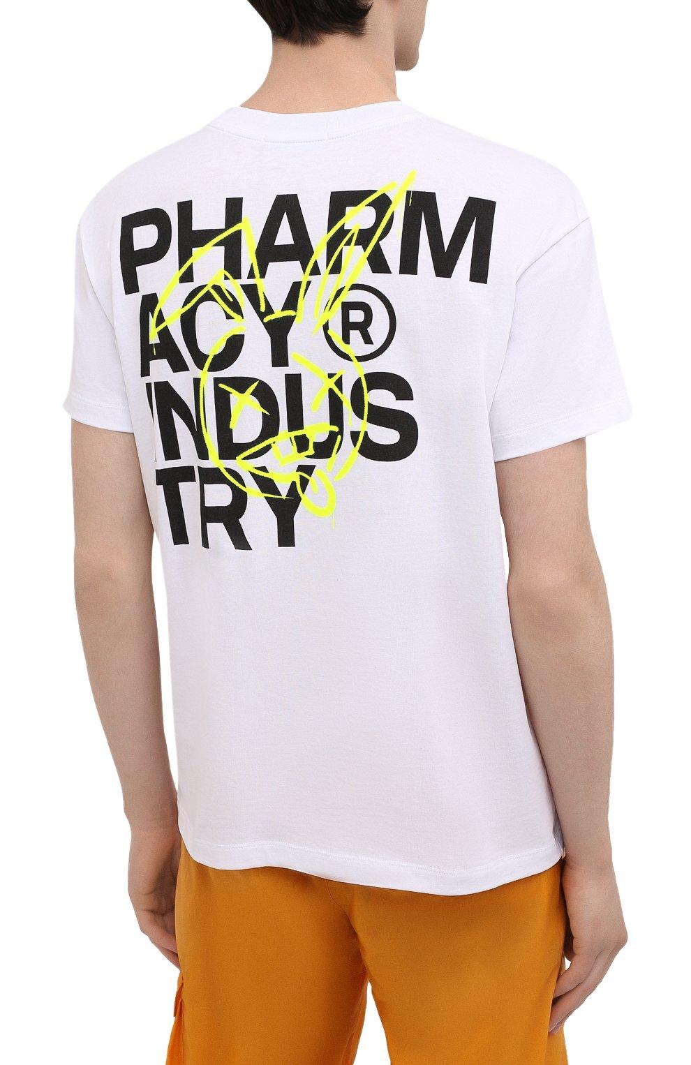 Мужская хлопковая футболка PHARMACY INDUSTRY белого цвета, арт. PHM222   Фото 4
