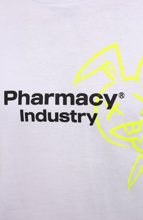 Мужская хлопковая футболка PHARMACY INDUSTRY белого цвета, арт. PHM222   Фото 5