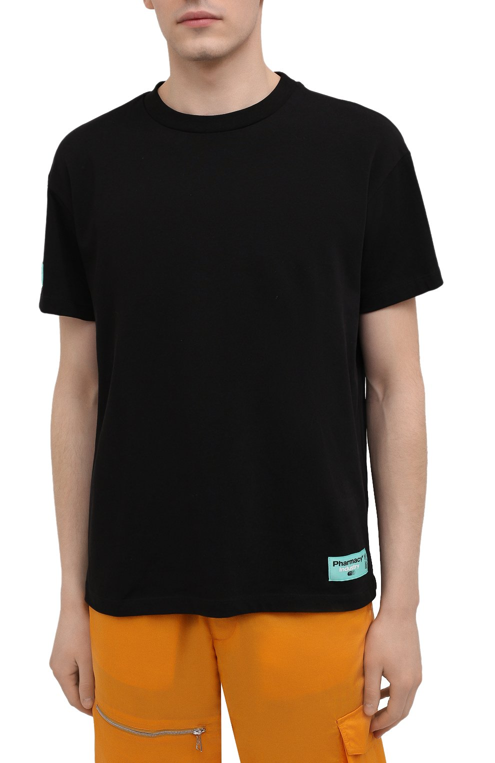 Мужская хлопковая футболка PHARMACY INDUSTRY черного цвета, арт. PHM216   Фото 3