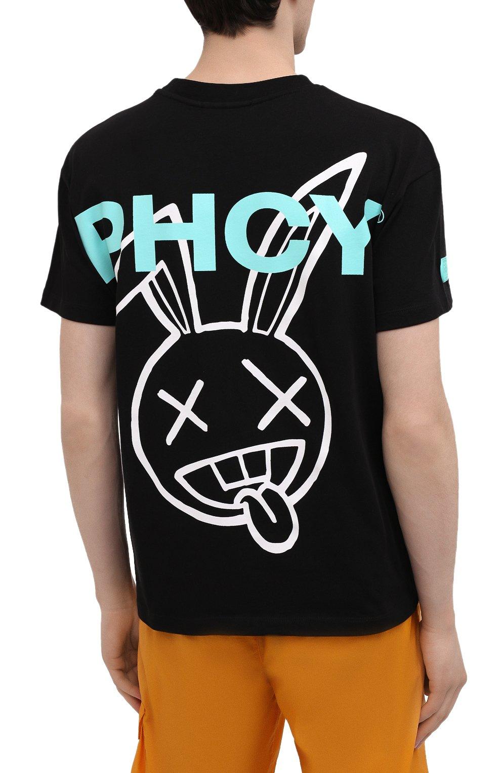 Мужская хлопковая футболка PHARMACY INDUSTRY черного цвета, арт. PHM216   Фото 4