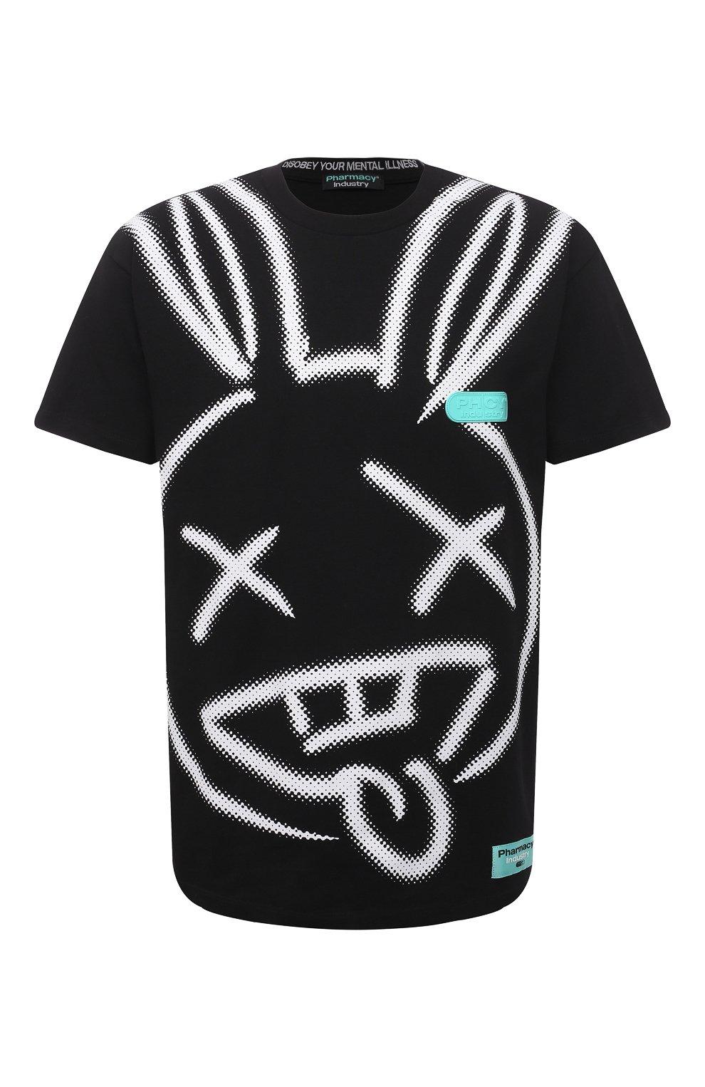 Мужская хлопковая футболка PHARMACY INDUSTRY черно-белого цвета, арт. PHM214 | Фото 1