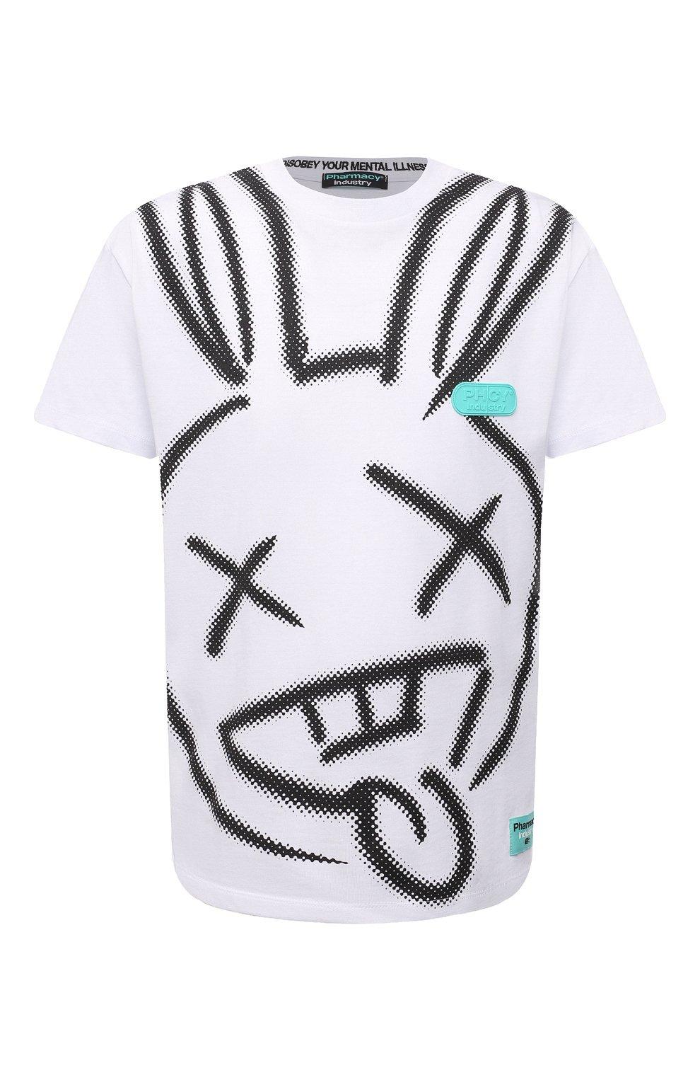 Мужская хлопковая футболка PHARMACY INDUSTRY белого цвета, арт. PHM214 | Фото 1