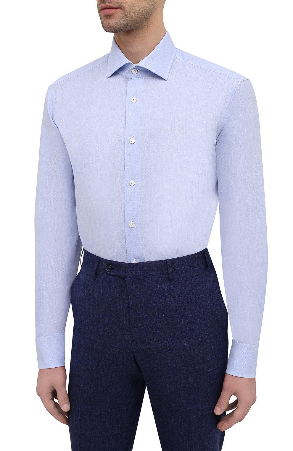 Мужская хлопковая сорочка VAN LAACK голубого цвета, арт. RIVARA-TF/150157   Фото 3 (Манжеты: На пуговицах; Рукава: Длинные; Рубашки М: Regular Fit; Воротник: Акула; Длина (для топов): Стандартные; Материал внешний: Хлопок; Стили: Классический; Случай: Формальный; Принт: Однотонные)