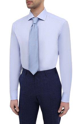 Мужская хлопковая сорочка VAN LAACK голубого цвета, арт. RIVARA-TF/150157   Фото 4 (Манжеты: На пуговицах; Рукава: Длинные; Рубашки М: Regular Fit; Воротник: Акула; Длина (для топов): Стандартные; Материал внешний: Хлопок; Стили: Классический; Случай: Формальный; Принт: Однотонные)