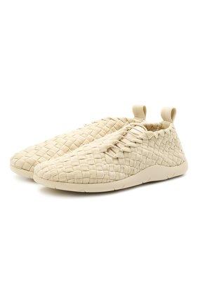 Мужские текстильные кроссовки BOTTEGA VENETA кремвого цвета, арт. 651306/V0GV1 | Фото 1 (Подошва: Плоская; Материал внутренний: Натуральная кожа; Материал внешний: Текстиль; Стили: Гранж)