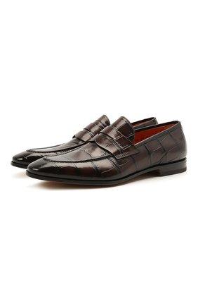 Мужские кожаные лоферы SANTONI темно-коричневого цвета, арт. MCDU14714LA1EHR0T50 | Фото 1 (Мужское Кросс-КТ: Лоферы-обувь; Стили: Классический; Материал внутренний: Натуральная кожа)