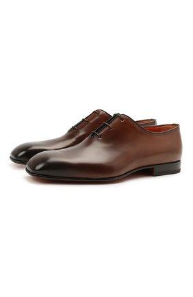 Мужские кожаные оксфорды SANTONI темно-коричневого цвета, арт. MCLI17558JA2IHVYT50 | Фото 1 (Стили: Классический; Материал внутренний: Натуральная кожа)