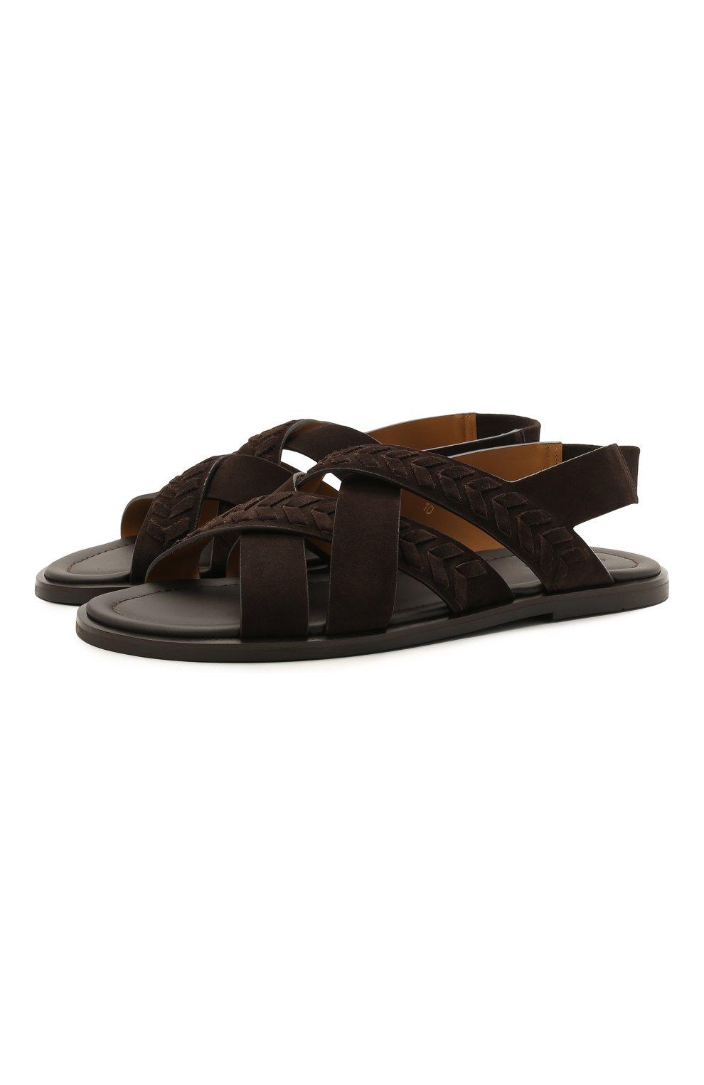 Мужские замшевые сандалии GIORGIO ARMANI коричневого цвета, арт. X2P073/XM818 | Фото 1