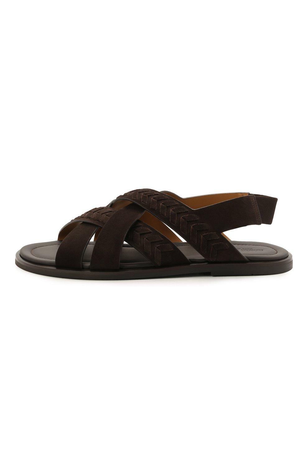 Мужские замшевые сандалии GIORGIO ARMANI коричневого цвета, арт. X2P073/XM818 | Фото 3