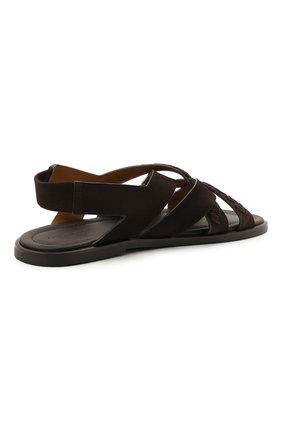 Мужские замшевые сандалии GIORGIO ARMANI коричневого цвета, арт. X2P073/XM818 | Фото 4