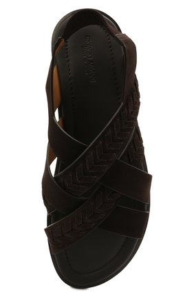 Мужские замшевые сандалии GIORGIO ARMANI коричневого цвета, арт. X2P073/XM818 | Фото 5