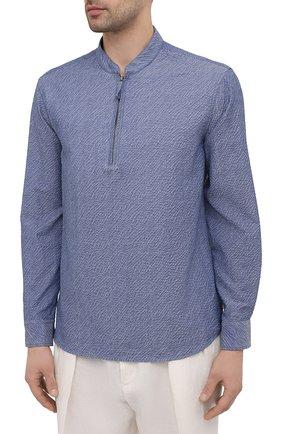Мужская хлопковая рубашка GIORGIO ARMANI синего цвета, арт. 1SGCCZ50/TZ874 | Фото 3