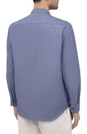 Мужская хлопковая рубашка GIORGIO ARMANI синего цвета, арт. 1SGCCZ50/TZ874 | Фото 4