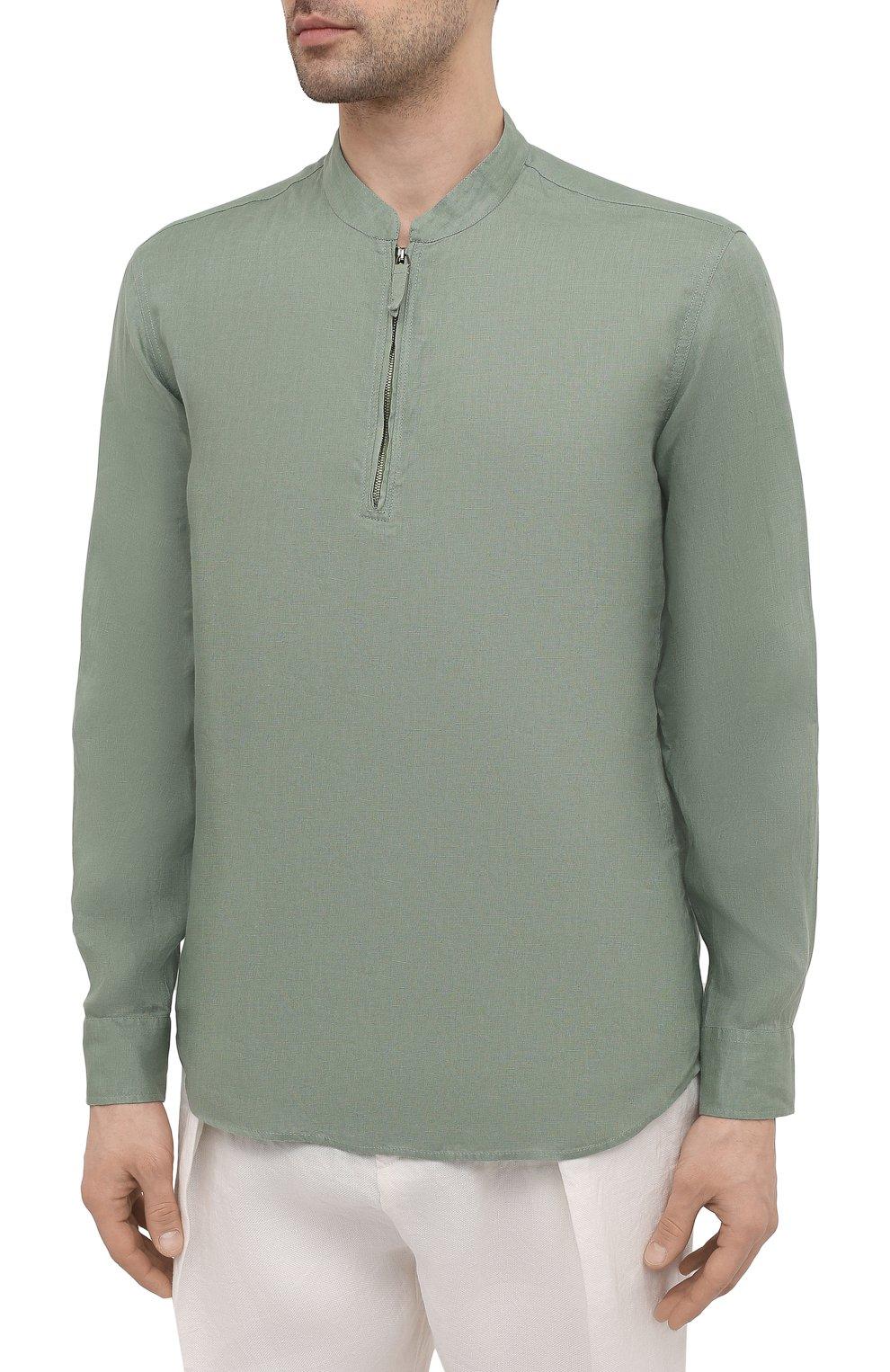 Мужская льняная рубашка GIORGIO ARMANI зеленого цвета, арт. 1SGCCZ50/TZ256   Фото 3
