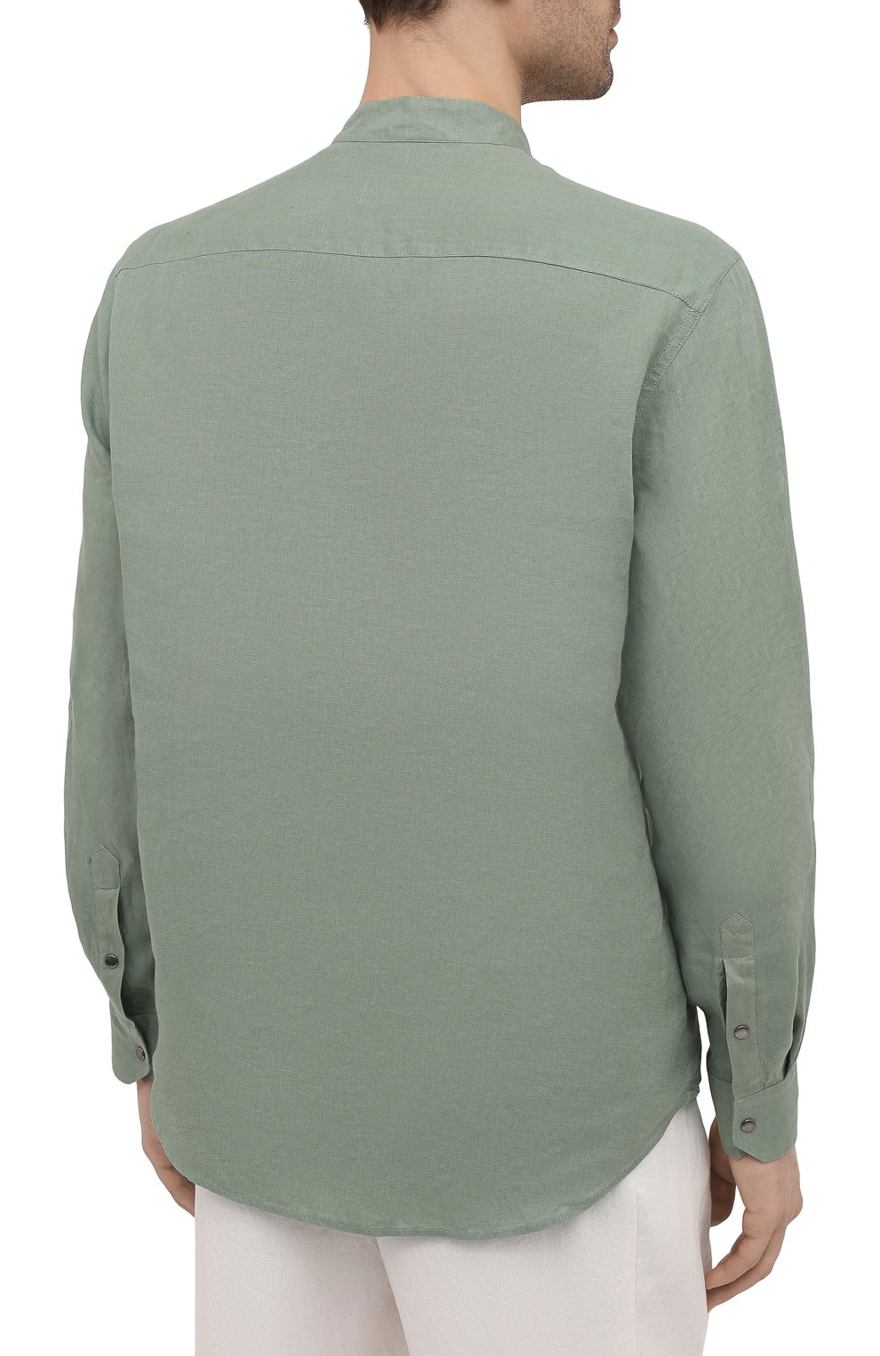 Мужская льняная рубашка GIORGIO ARMANI зеленого цвета, арт. 1SGCCZ50/TZ256   Фото 4
