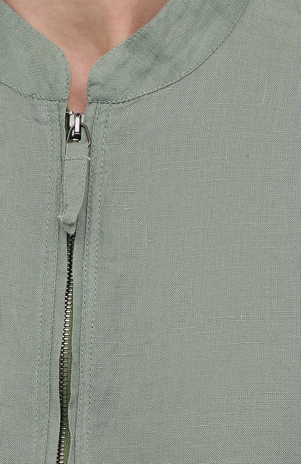 Мужская льняная рубашка GIORGIO ARMANI зеленого цвета, арт. 1SGCCZ50/TZ256   Фото 5