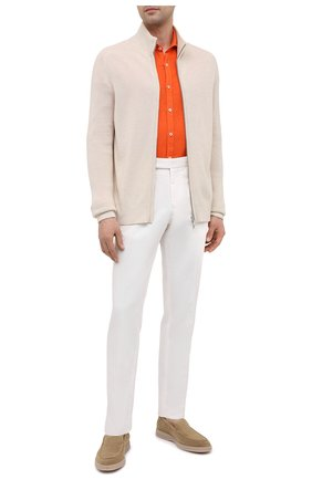Мужская льняная рубашка CANALI оранжевого цвета, арт. L7B1/GM02128   Фото 2