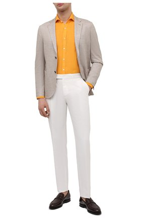 Мужская льняная рубашка CANALI желтого цвета, арт. L7B1/GM02128   Фото 2