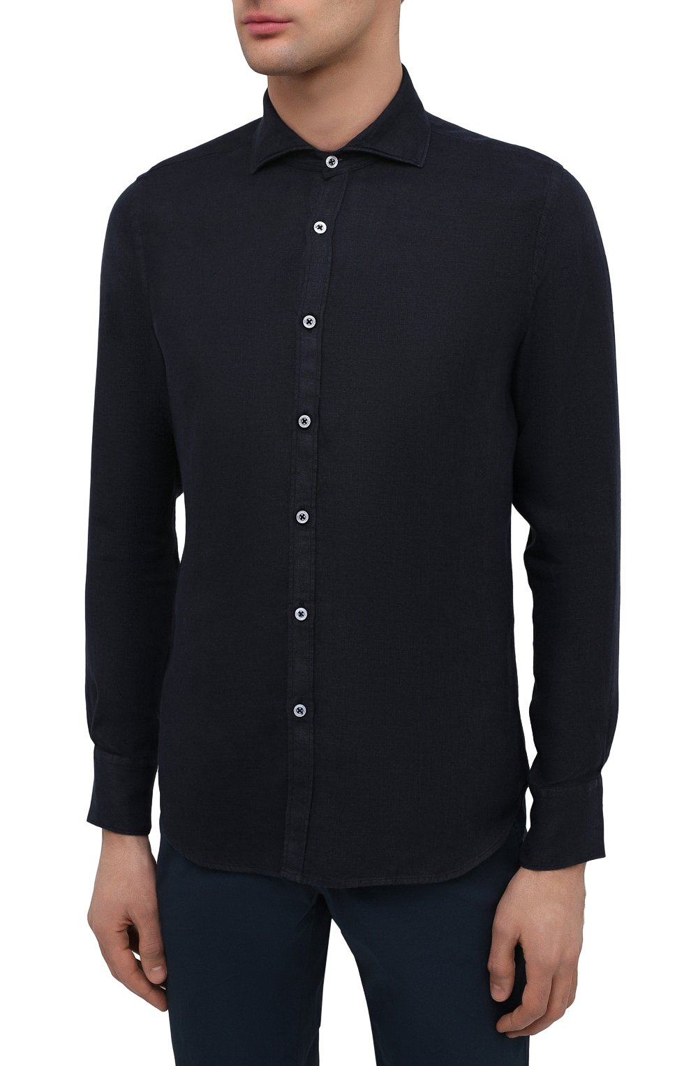 Мужская льняная рубашка CANALI черного цвета, арт. L7B1/GM02128 | Фото 3