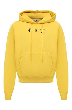 Мужской хлопковое худи OFF-WHITE желтого цвета, арт. 0MBB037S21FLE005 | Фото 1