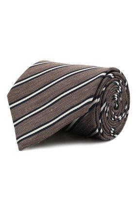 Мужской галстук из шелка и льна BRIONI коричневого цвета, арт. 062I00/P041B | Фото 1