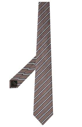 Мужской галстук из шелка и льна BRIONI коричневого цвета, арт. 062I00/P041B | Фото 2