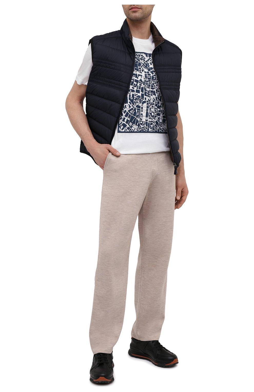Мужские брюки из кашемира и шелка BRIONI бежевого цвета, арт. UMIL0L/P0K03   Фото 2