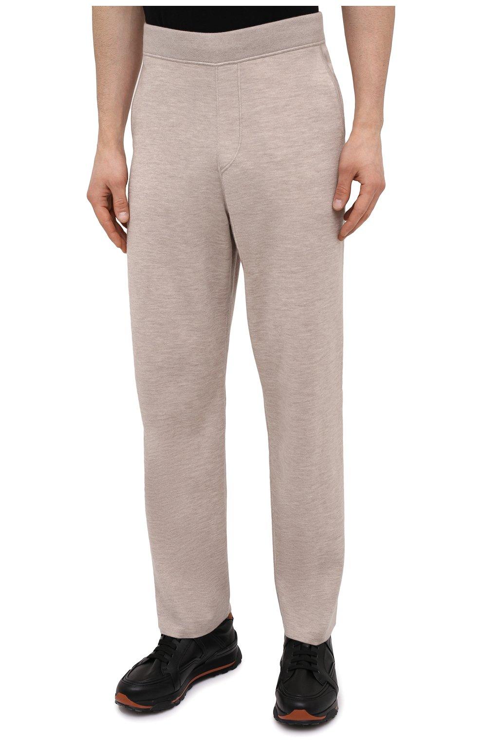 Мужские брюки из кашемира и шелка BRIONI бежевого цвета, арт. UMIL0L/P0K03   Фото 3