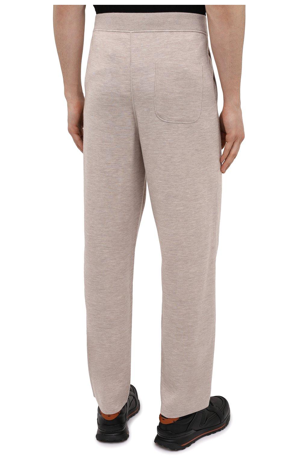 Мужские брюки из кашемира и шелка BRIONI бежевого цвета, арт. UMIL0L/P0K03   Фото 4