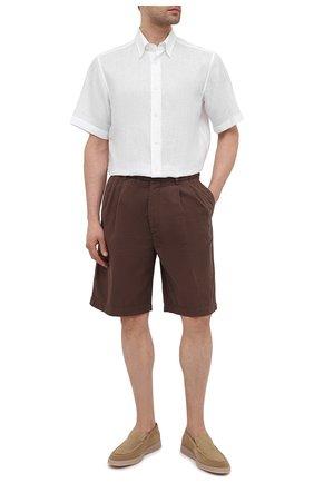 Мужская льняная рубашка BRIONI белого цвета, арт. SCDG0L/P9111 | Фото 2