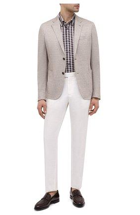 Мужская рубашка из хлопка и льна BRIONI коричневого цвета, арт. SCDG0L/P0006 | Фото 2